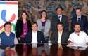 Durante la firma del convenio con el BCI
