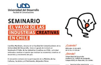 ¿Quiénes son los expositores del seminario ElValor de las Industrias Creativas en Chile?